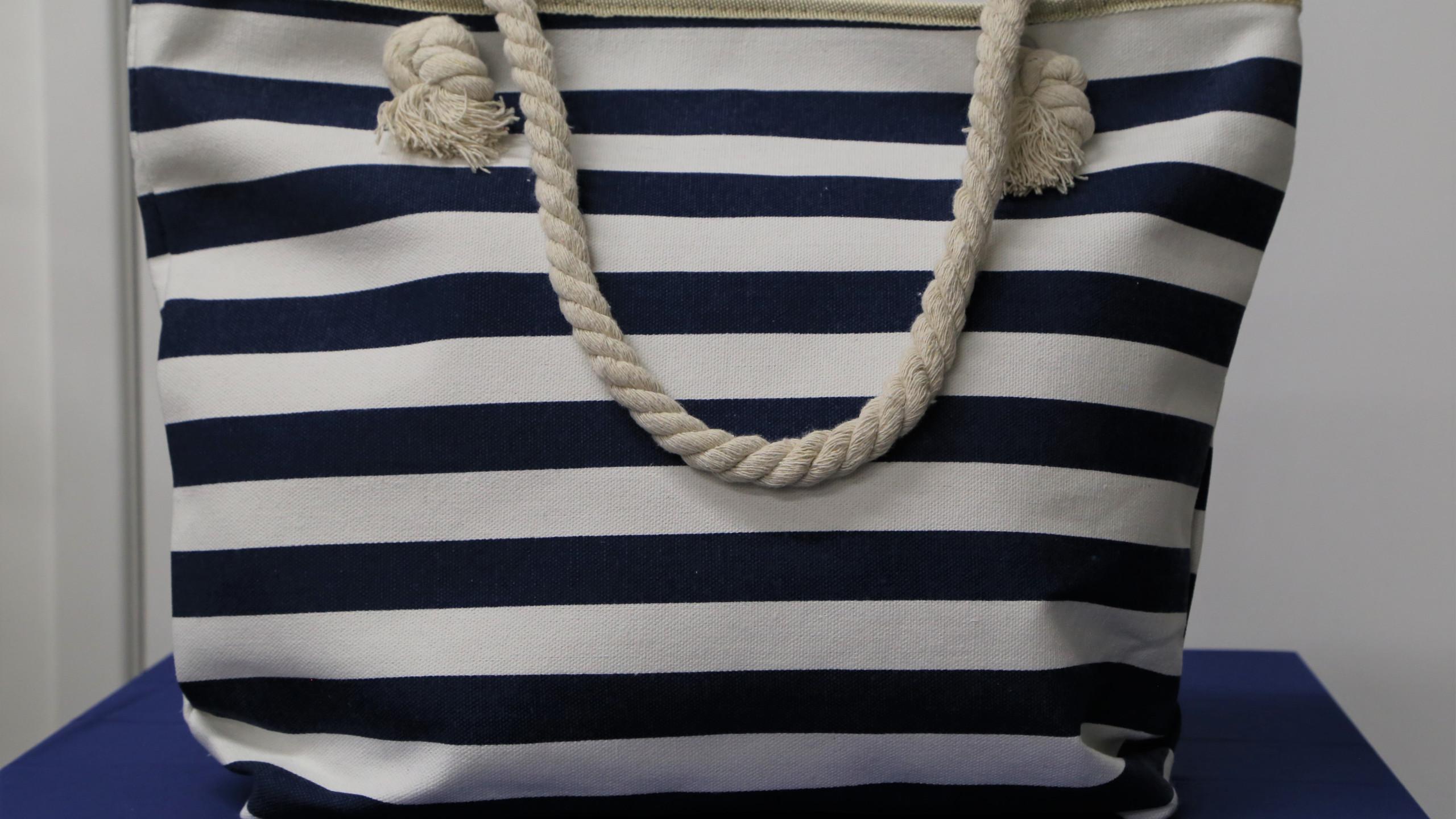 Blue and white strip beach bag