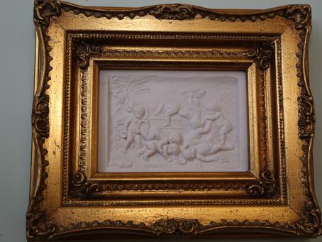 White plaque in Gilt frames - Pair - SOLD