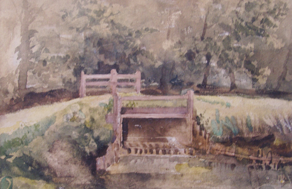 Bing Bridge near Petistree, Suffolk Watercolour by Thomas Churchyard