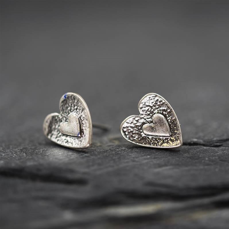 Heart earrings with small heart