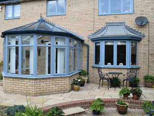 Blue coloured conservatory