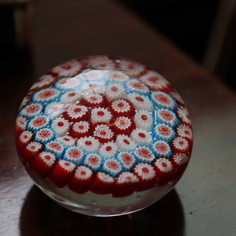 Red white and blue flower paperweight.JP