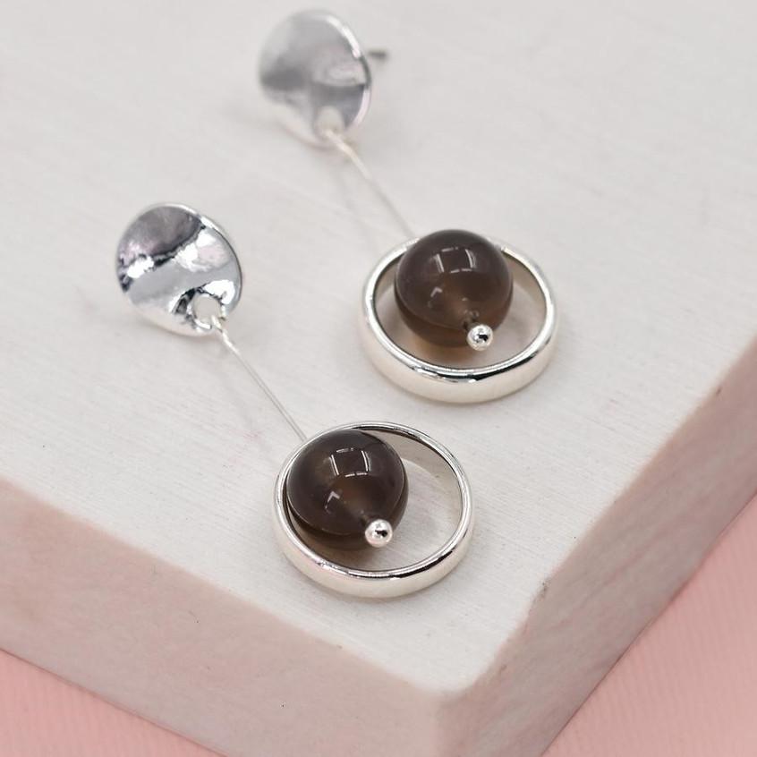 Silver grey drop earrings