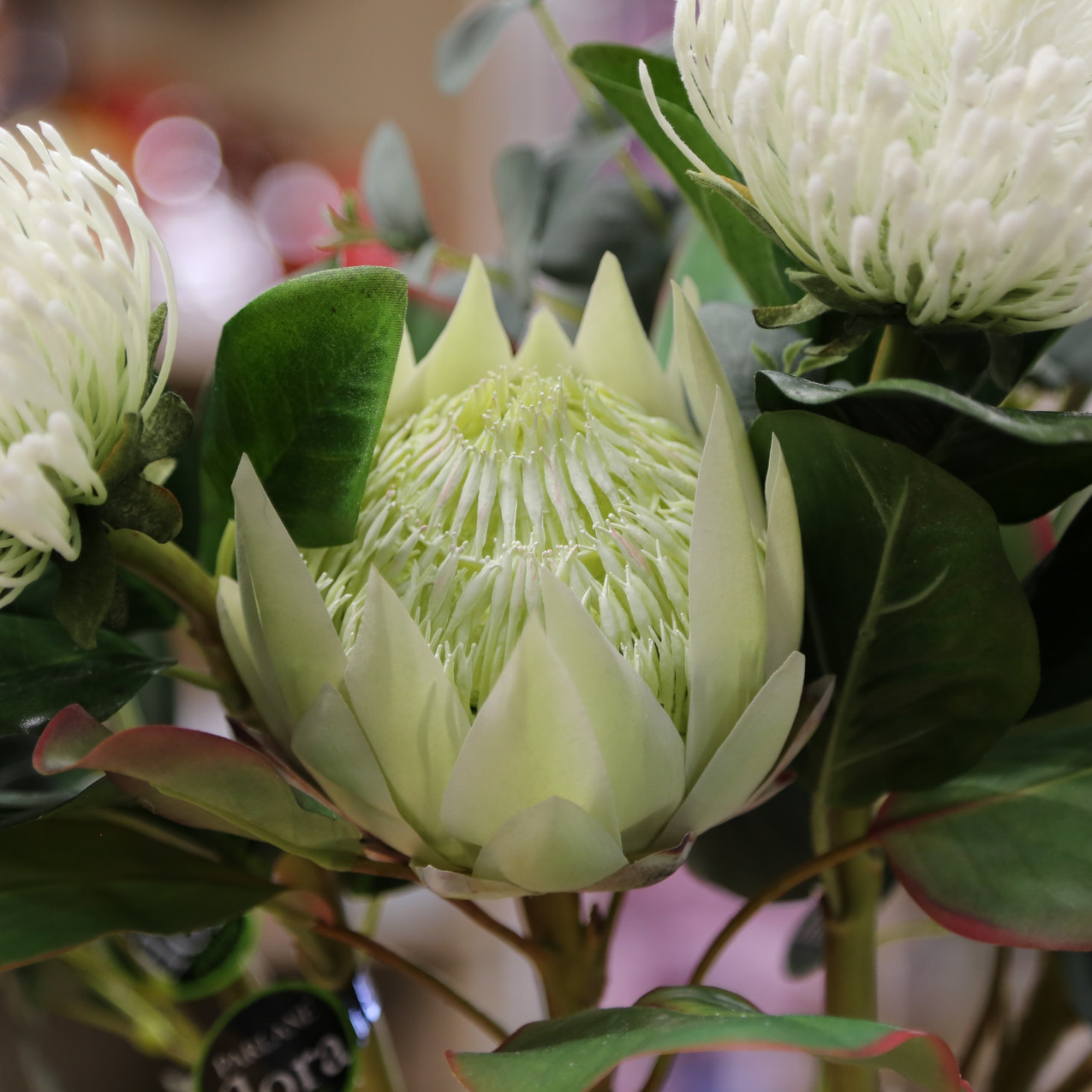 Artificial flowers in store