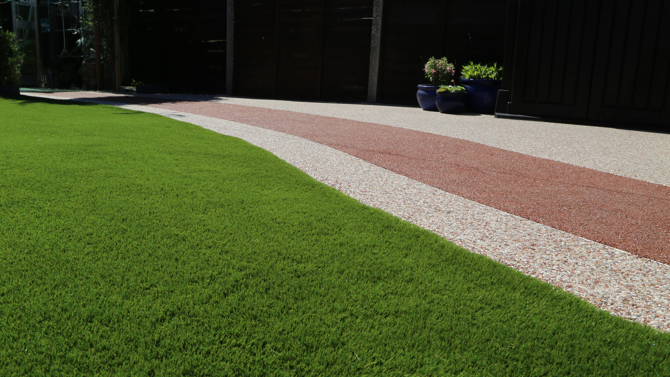 Artificial grass and resin