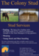 The Colony Stud, Stud Services