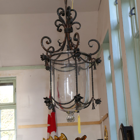 Iron and glass ceiling light