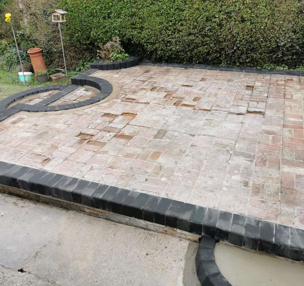 Patio with blocks down