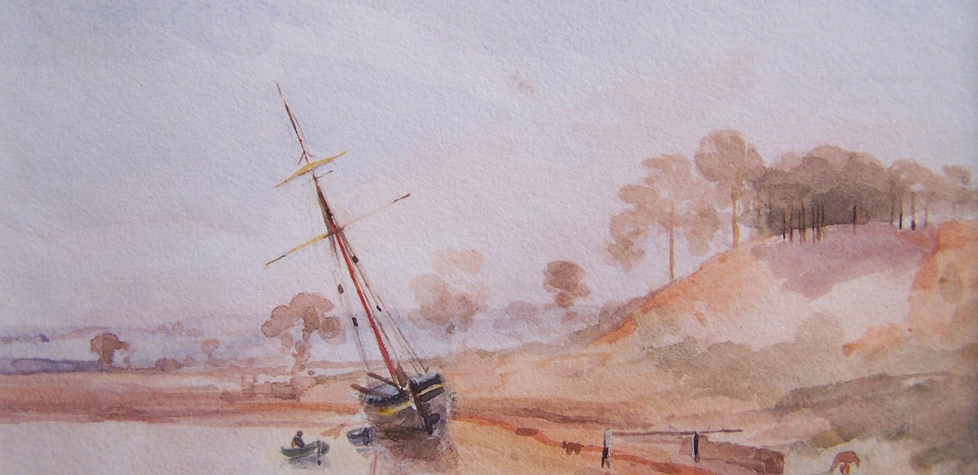 Near Kyson Point, On the Deben, Watercolour by Thomas Churchyard