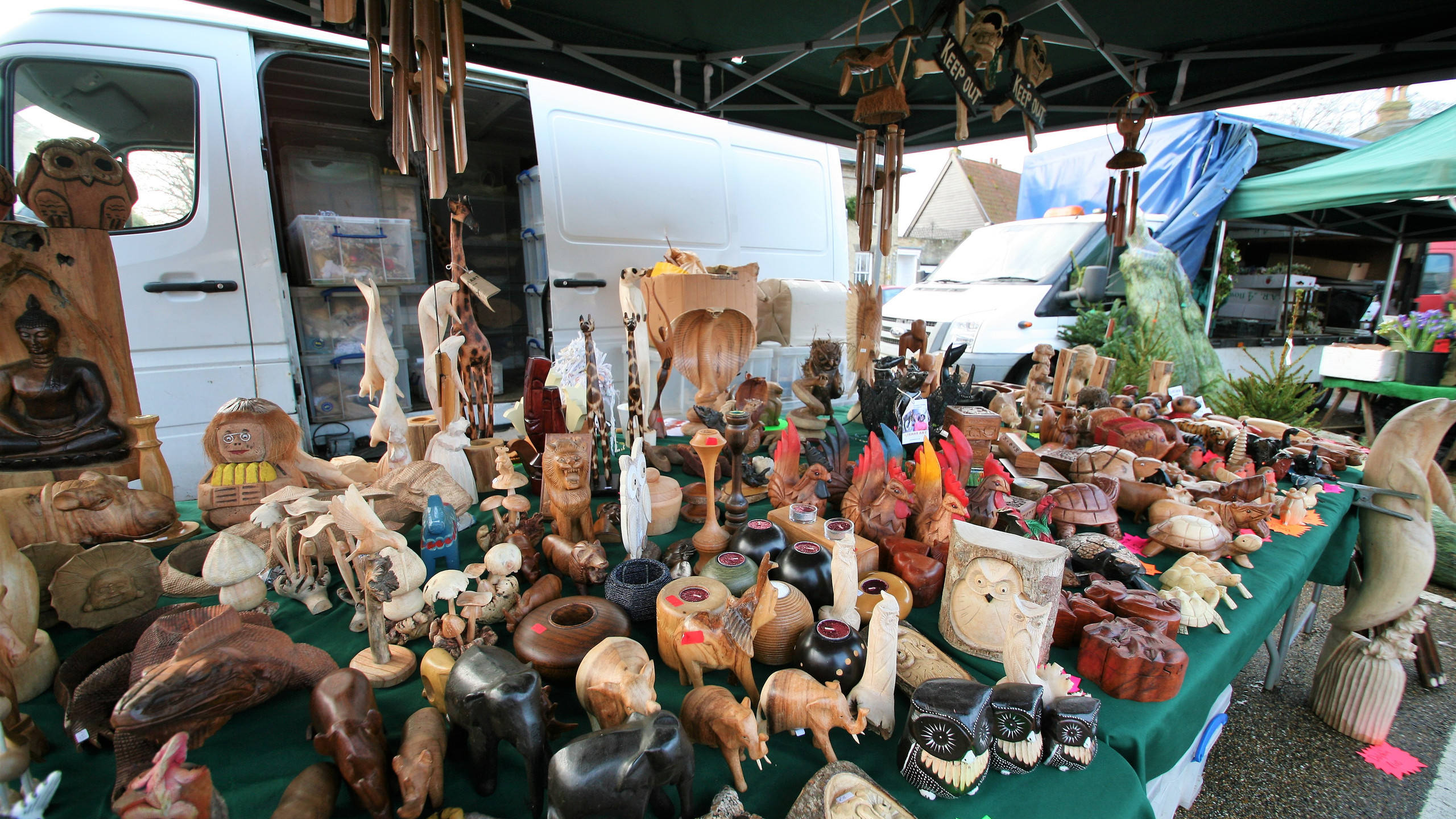 Stall of wooden crafts
