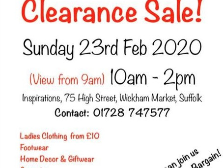 Sale Sunday 23rd February