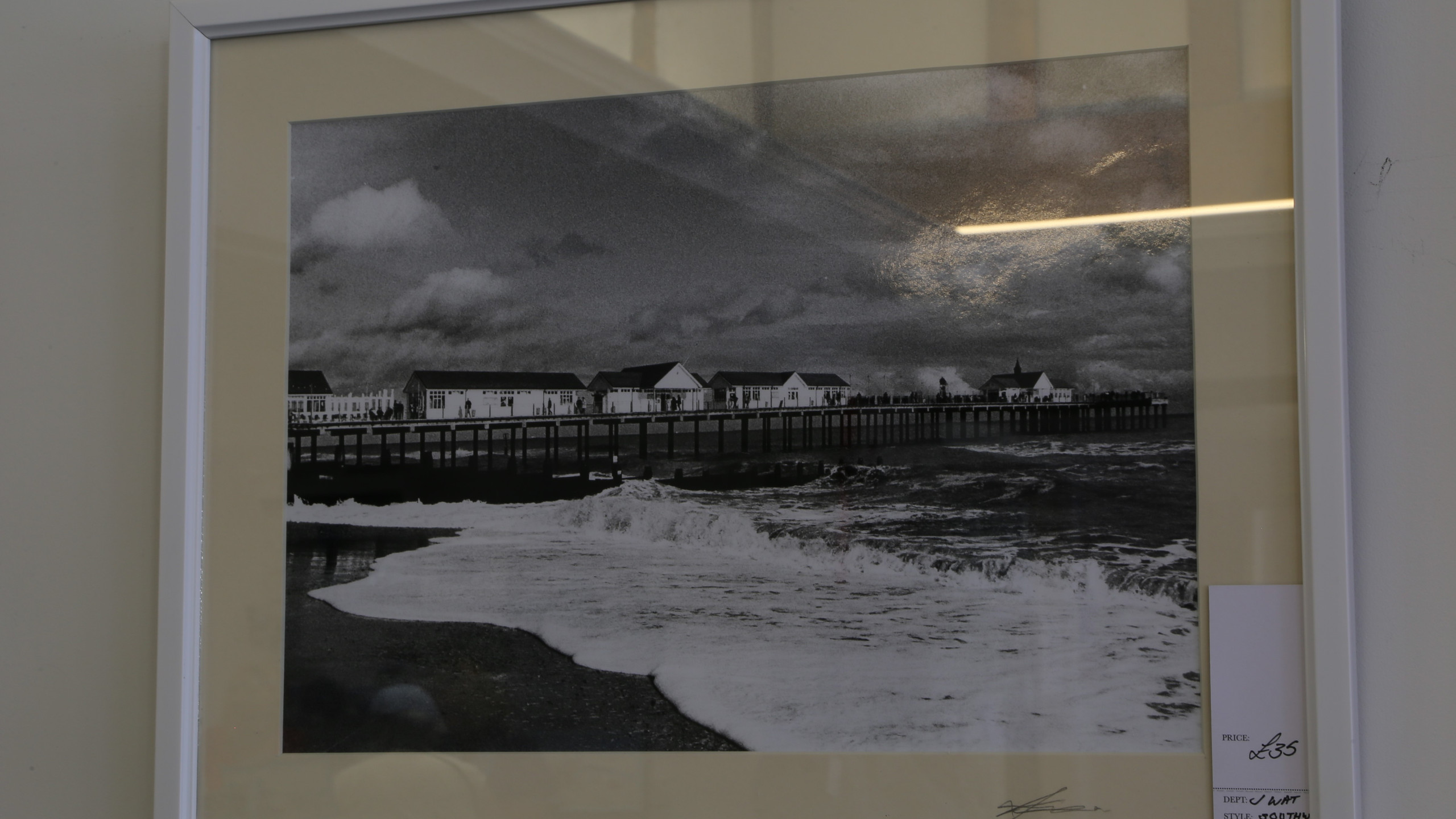 Black and white beach scene