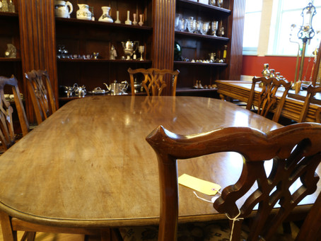 "Mahogany tilting supper table 5' 6"" inches by 4' 3"" - £395"