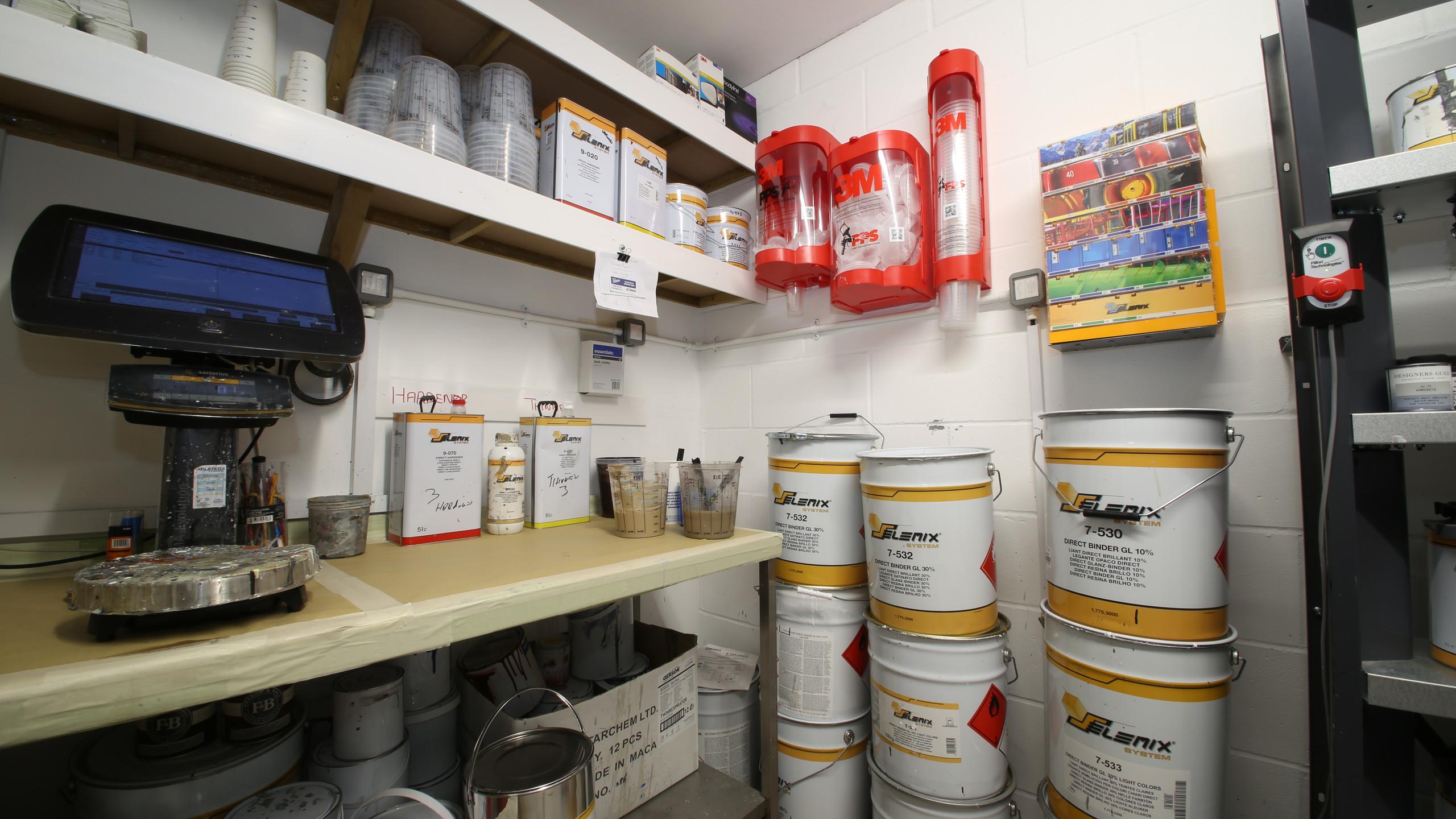 Paint prep room