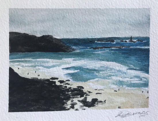 9.5cm x 13cm Gwenver Beach Cornwall