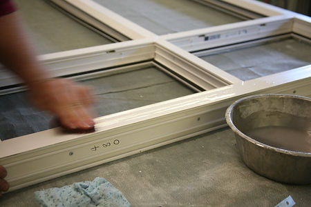 Windows and doors prepared for painting