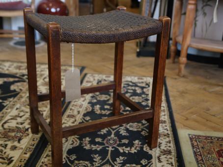 Oak Frame Grass Seat Stool - £28