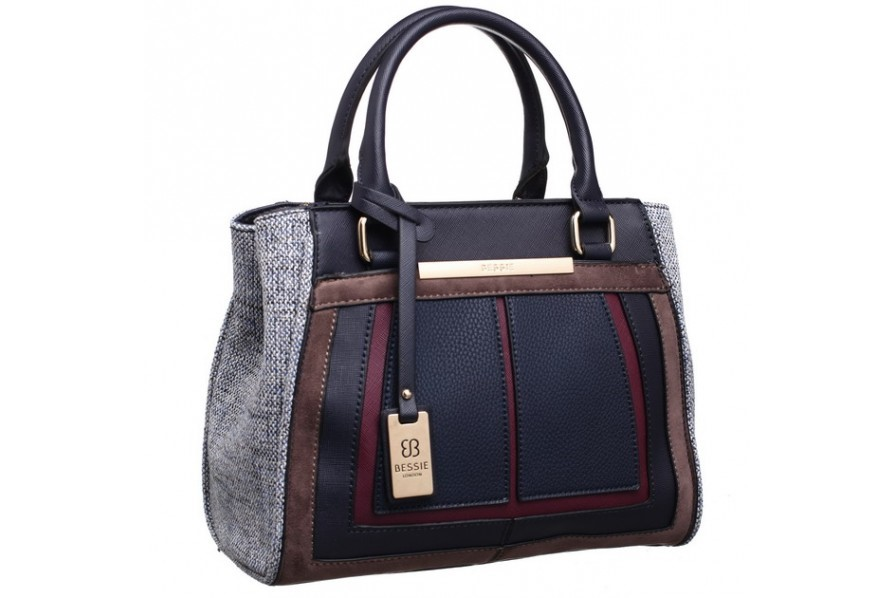 Bessie navy with side patterned bag