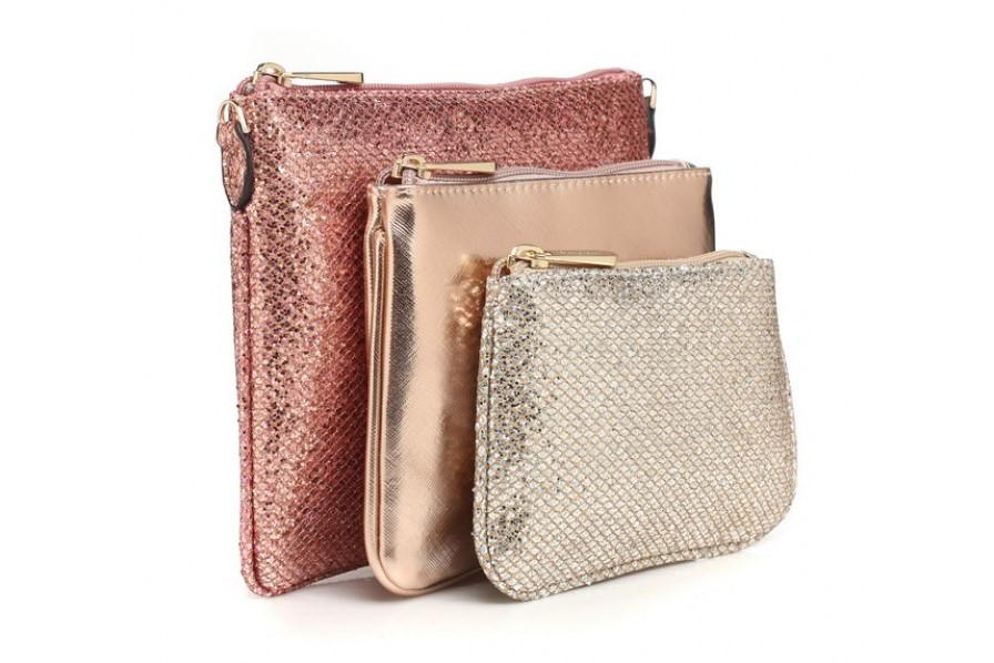 Bessie set of three Glitter Bags