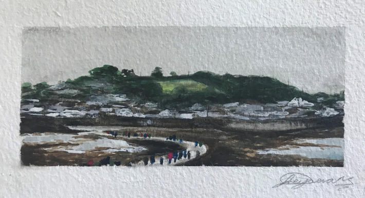 5.5cm x 13cm view from St Michaels Mount