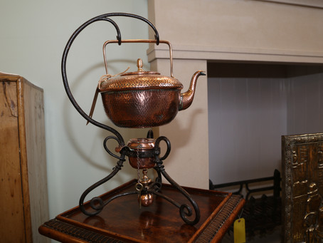 Copper kettle, stand and burner - £80