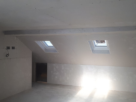 Plasterboard gives shape to the loft conversion