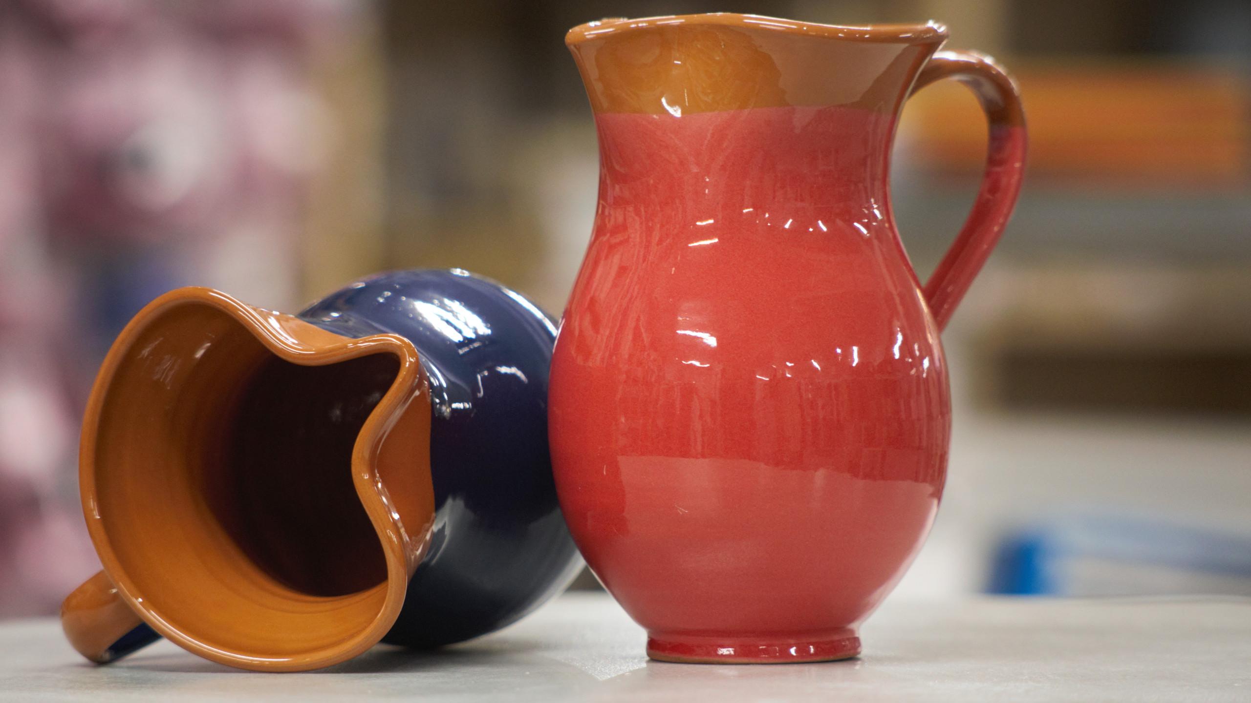 rustic pottery jugs