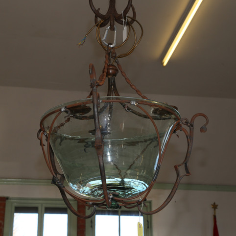Glass and iron ceiling light