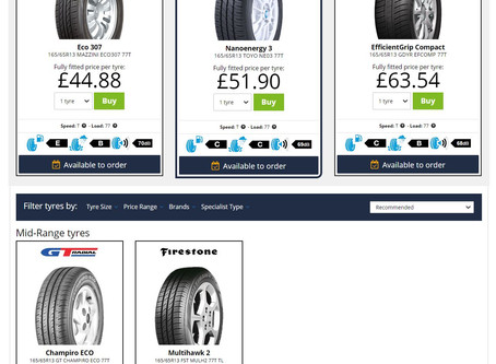 Online tyre costs for your car