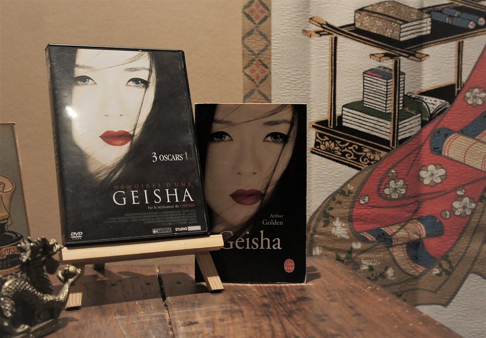 Livre Geisha d'Arthur Golden et le DVD Du film Mémoire d'une Geisha de Rob Marshall.