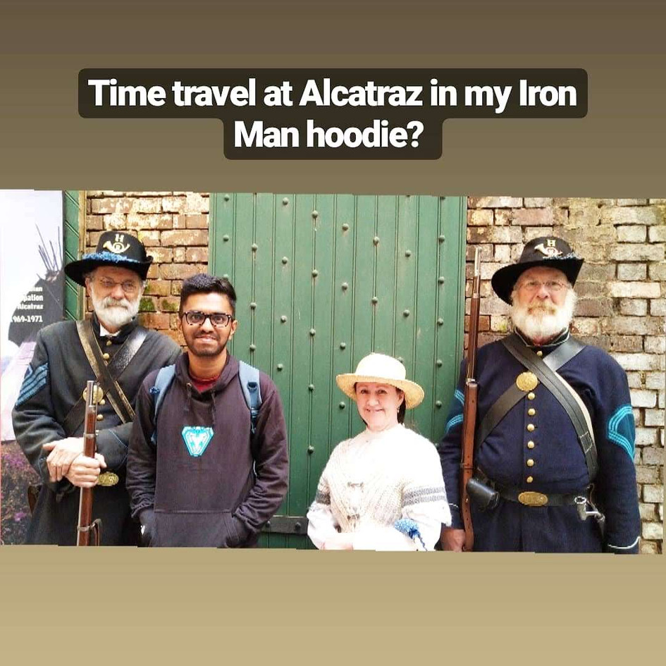 Time traveling at Alcatraz Island in my Iron Man hoodie.