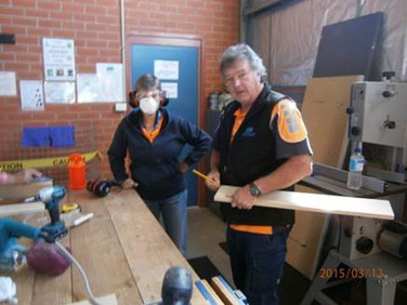 Volunteers woodwork training