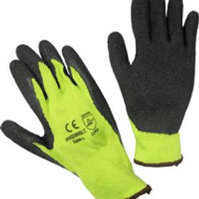 High Viz coated string gloves. Lime.