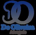 Logotipo da De Oliveira Advogado, com a sigla DO azul escuro e grande em tipografia manuscrita.