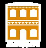 Logotipo da AMIGUAPE, com a ilustração de um prédio histórico de 2 andares que data o Brasil colônia