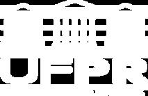 Logotipo branco da Universidade Federal do Paraná, com um prédio histórico com colunas gregas.