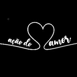 Logotipo da ONG Ação do Amor, com a ilustração de uma linha branca em formato de coração.