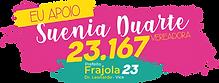 Logotipo da candidata a Vereadora, Suênia Duarte, com o número 23.167.