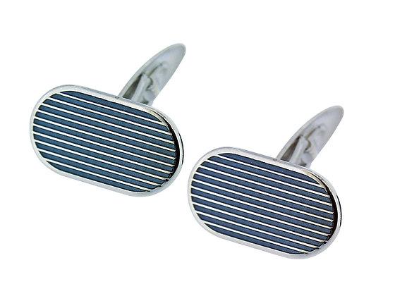 Mansjettknapp  emaljert grå striper