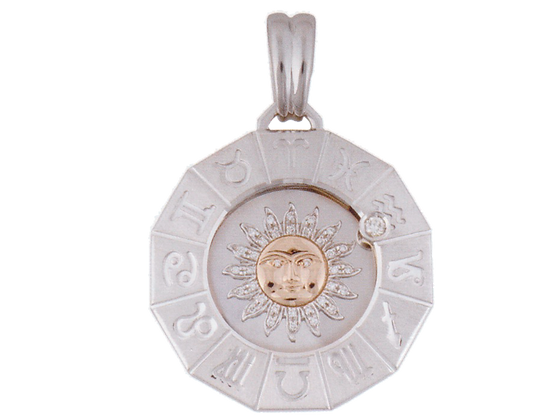 Zodiac pendant with diamond