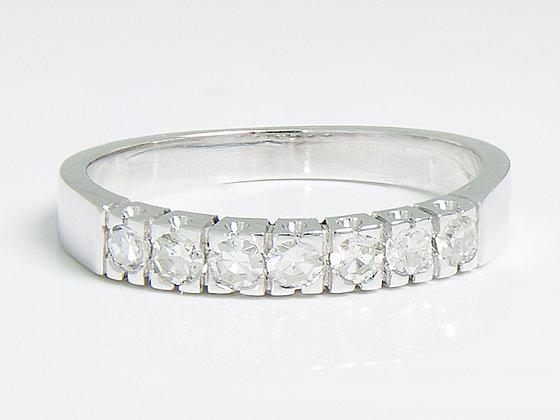 14K diamantring med 7 halvslipte (8/8) diamanter