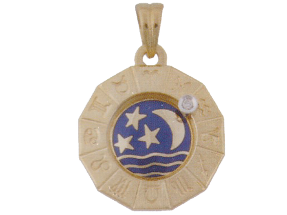 Zodiac pendant with rotating diamond