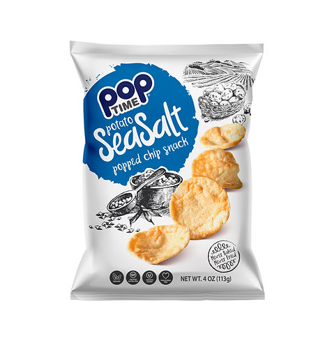 POPTime Sea Salt popped chips (Box of 6 - 4oz Bags)