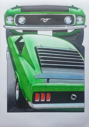 1969 Ford Mustang Illustration