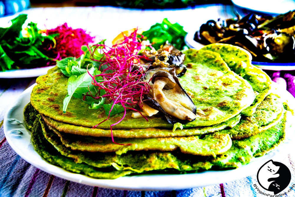Vegan pancakes which are made from green leaves, no any food color is used.