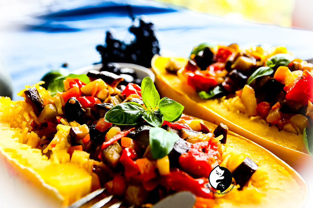 When spaghetti squash meets ratatouille, nobody can complain this sort is difficult to eat.