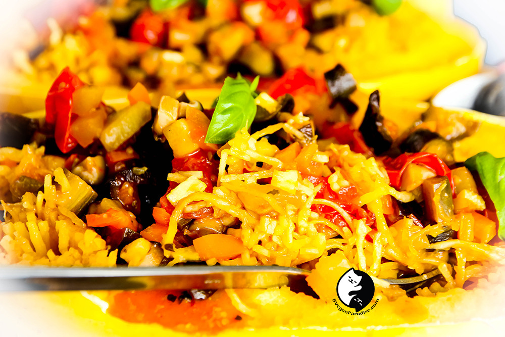 I really love eating this spaghetti squash with ratatouille as the sauce.