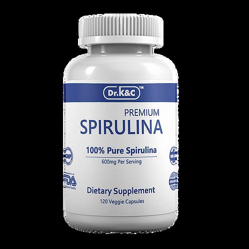 Dr.K&C Premium Spirulina 600mg, 120 Veggie Capsules