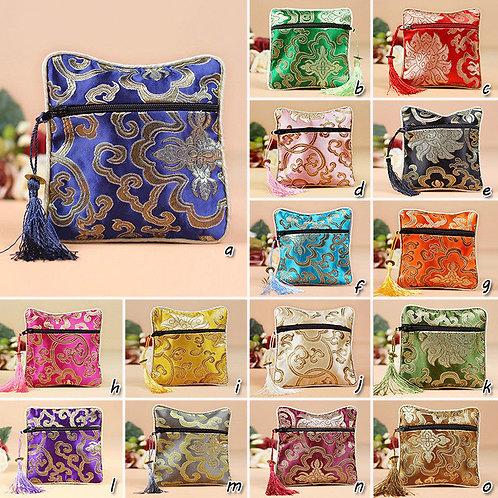 Handmade vintage style silk jewelry zipped bag