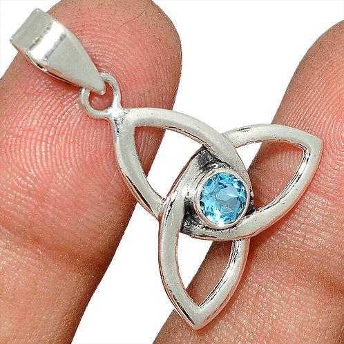 Celtic Trinity 925 Sterling Silver Pendant Choose Gemstone